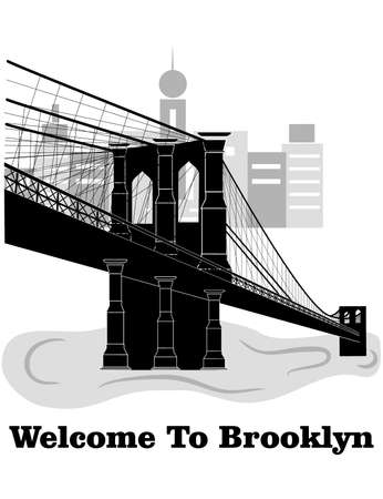 illustration in style of flat design on the theme of Brooklyn.