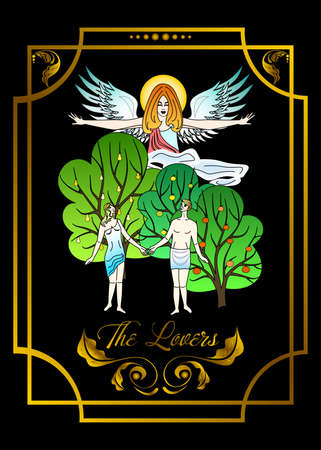The illustration - card for tarot - the lovers.