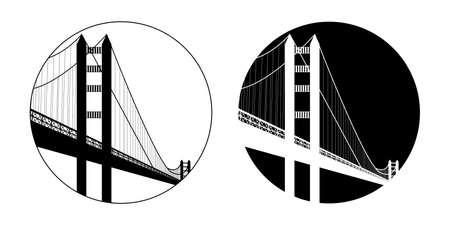 サンフランシスコをテーマにしたフラットデザインのイラスト。  イラスト・ベクター素材