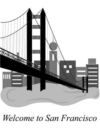 サンフランシスコをテーマとしたフラットなデザインのスタイルのイラスト。