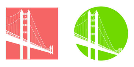 illustration in style of flat design on the theme of San Francisco. Illustration