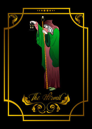 Illustration of a tarot card. The hermit design
