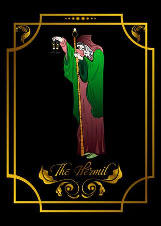 Illustratie van een tarotkaart. Het ontwerp van de heremiet