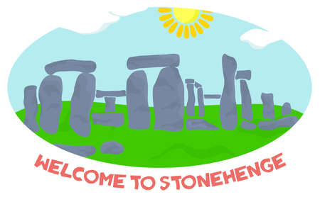 illustration in style of flat design on the theme of stonehenge.