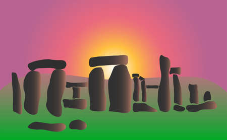 A Vector illustration of Stonehenge in flat style Illustration