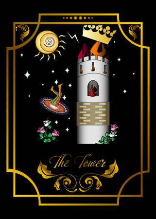 Suit of the tower, tarot card illustration.