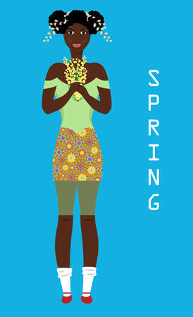 Portrait of a beautiful woman who represents spring. Illustration