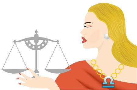 the illustration with the sign of zodiac - the libra.