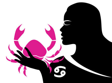 the illustration with the sign of zodiac - the cancer. Stock Vector - 93087090