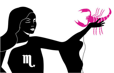The illustration with the sign of zodiac the scorpio.