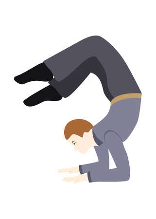 illustration in the style of a flat design on the theme of office yoga. Illustration