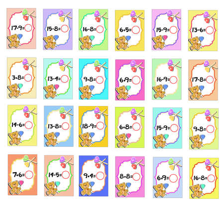 The illustration - cards for children to study mathematics.