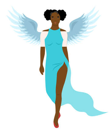 the illustration silhouette of women with wings in flat design style. Ilustração