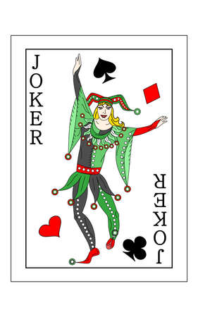 The beautiful card of the joker in classic style. Illustration