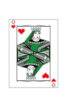The beautiful card of the queen of hearts in classic style. Vectores