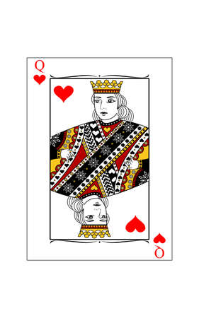 The beautiful card of the queen of hearts in classic style. Illustration