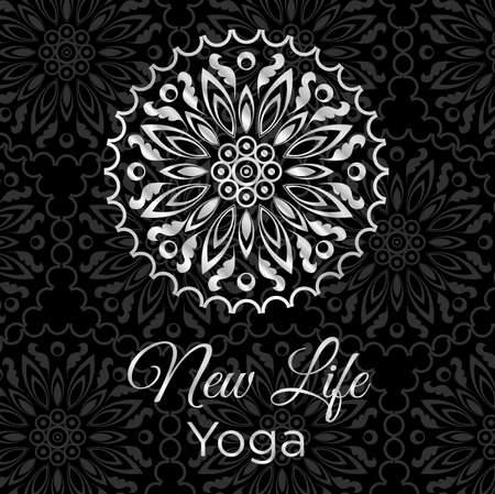 Black and white banner with mandala icon and text new life yoga. Illustration