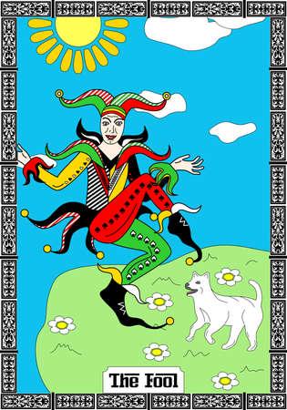 The illustration - the card from Taro deck - joker.