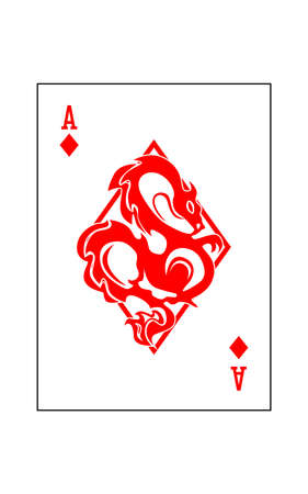 the illustration - ace of the playing cards of diamonds with dragon.