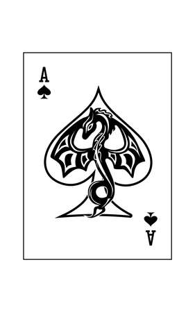 the illustration - ace of the playing cards of spades with dragon.