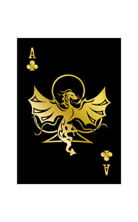 the illustration - ace of the playing cards of clubs with dragon. Stock Illustratie