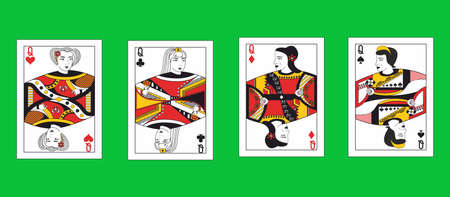 the illustration - set of queens of the playing cards.