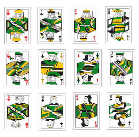 the illustration - set of the beautiful playing cards.