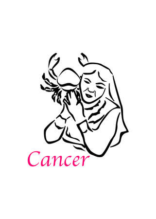 the illustration with the sign of zodiac - the Cancer.