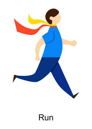 an illustration in the style of a flat design with a man who is running.