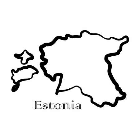 Illustration - map of the Estonia in abstract style.