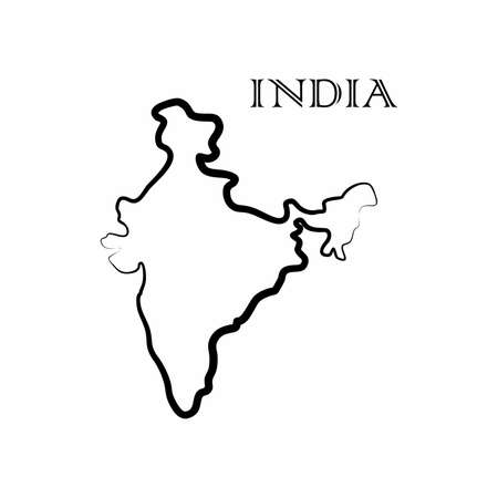 Illustration - map of the India in abstract style.