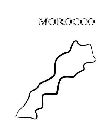 Illustration - map of the Morocco in abstract style.