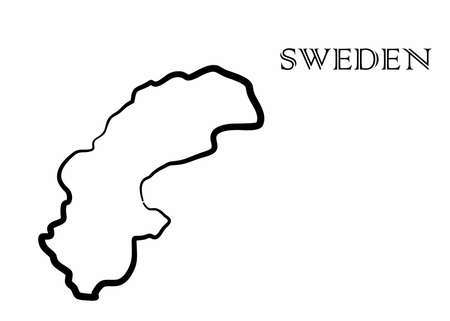 Illustration - map of the Sweden in abstract style.