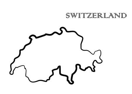 Illustration - map of the SWITZERLAND in abstract style. Illustration