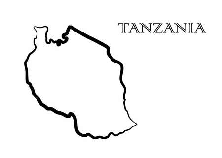 Illustration - map of the Tanzania in abstract style.