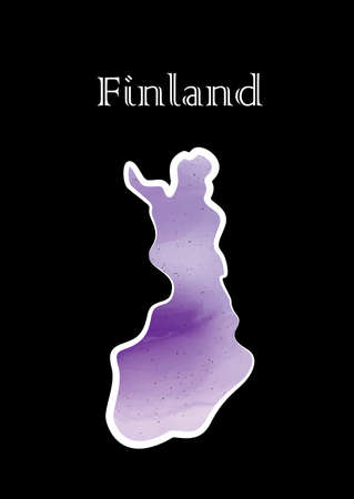Illustration - map of the Finland in abstract style. Ilustrace