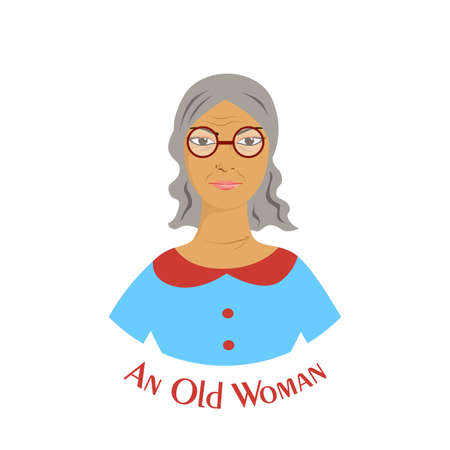 illustration with an old woman in the style of material design.