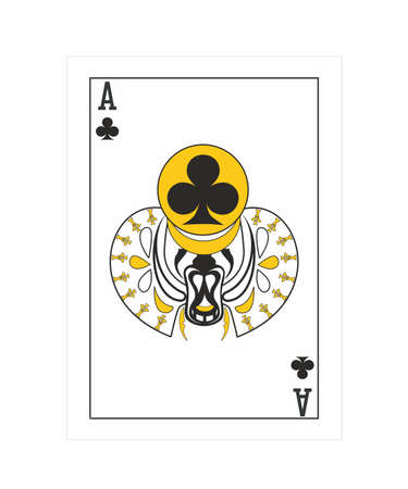 the illustration - ace of clubs in the egypt style. Imagens - 111682836