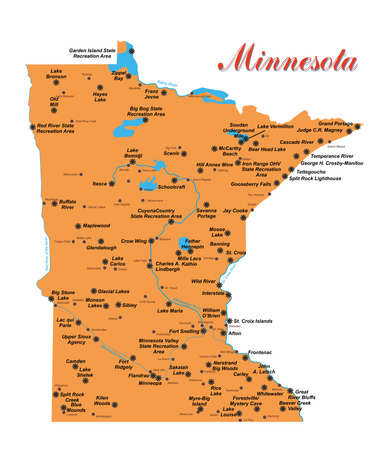 Illustration with detailed map of the state of Minnesota with national parks.