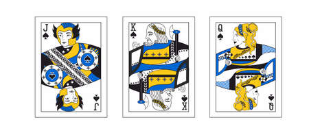 the illustration - set of the playing cards in greek style. Illustration