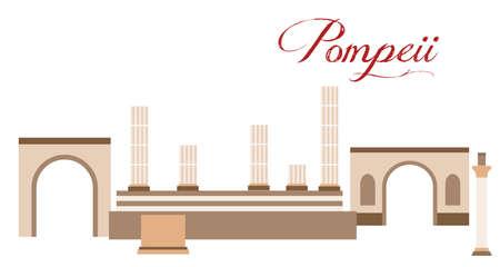 Illustration im Stil eines flachen Designs zum Thema Pompeji.