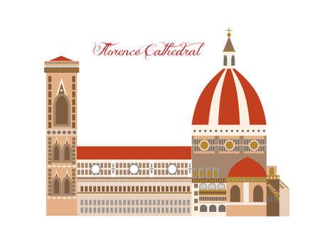 illustrazione nello stile di un design piatto sul tema dei luoghi d'interesse d'Italia. Vettoriali