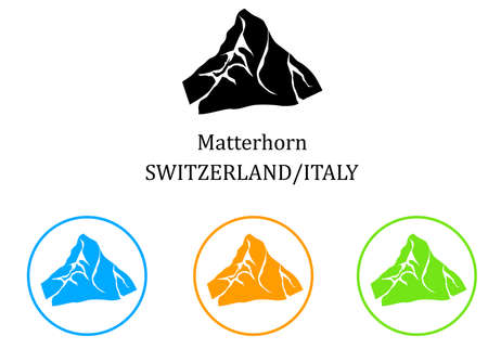 illustration in the style of a flat design on the theme of the sights of Italy and Switzerland.
