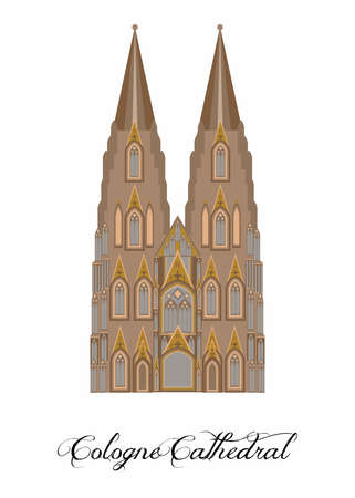 illustration in the style of a flat design on the theme of the Cologne Cathedral.