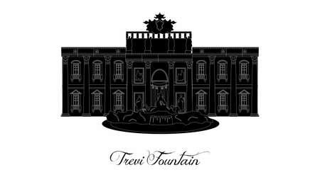 illustration dans le style d'un design plat sur le thème de la fontaine de Trevi.