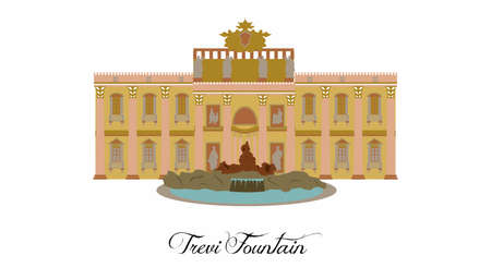 illustration in the style of a flat design on the theme of the Trevi Fountain.