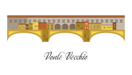 illustration in the style of a flat design on the theme of the Ponte Vecchio. Illustration