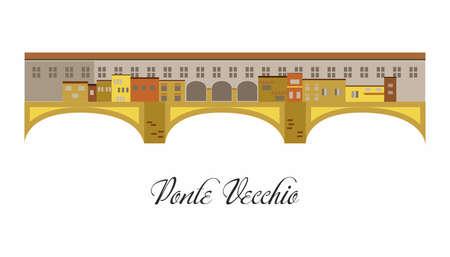 Ilustración al estilo de un diseño plano sobre el tema del Ponte Vecchio. Ilustración de vector