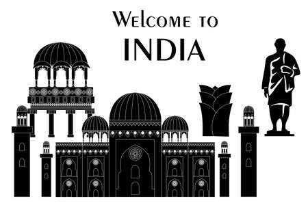 set in the style of a flat design on the theme of india. Illustration