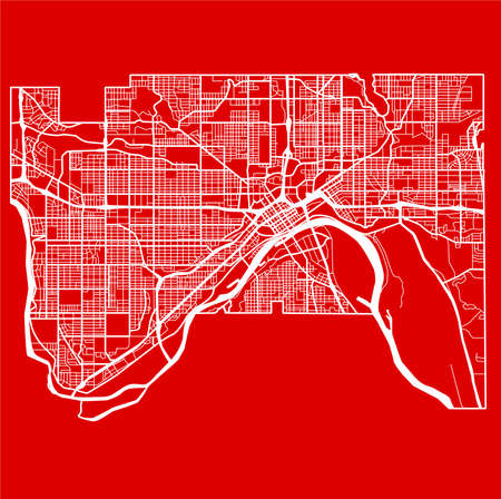 Detailed flat design map of the st paul city in USA.